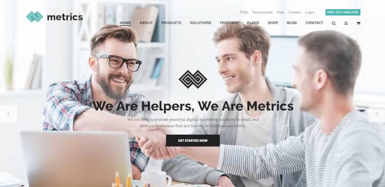 theme wordpress metrics tối ưu SEO