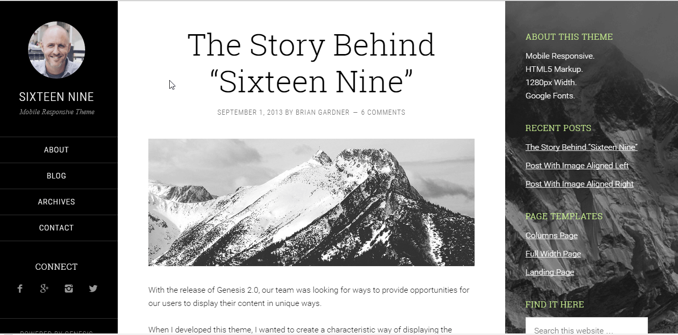 Sixteen Nine Theme by StudioPress