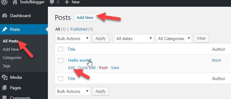 cách tạo post trong WordPress 3