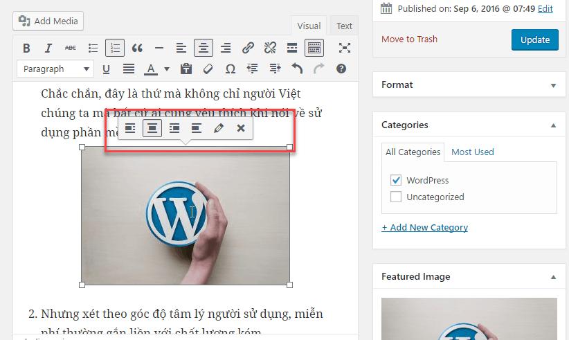 chèn ảnh trong wordpress