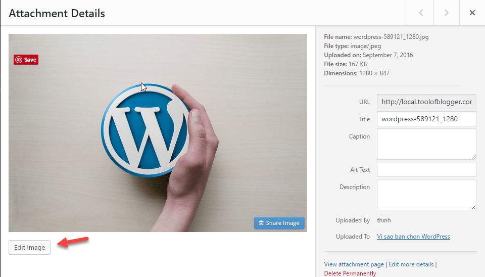 chèn ảnh trong wordpress attach details