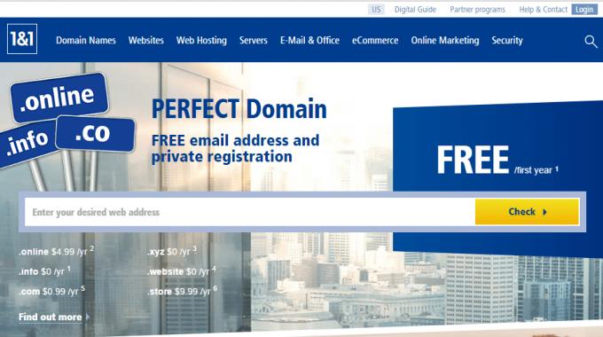 1&1: khuyến mại mua tên miền .com giá 0.99$