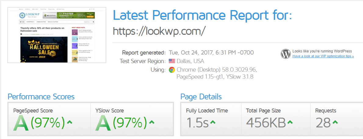 lookwp speed test results