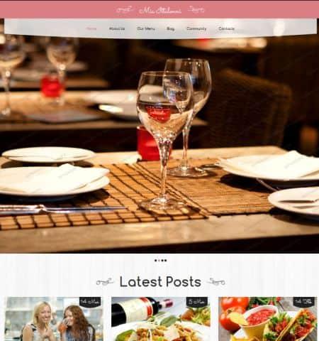 theme wordpress miễn phí đẹp restaurant