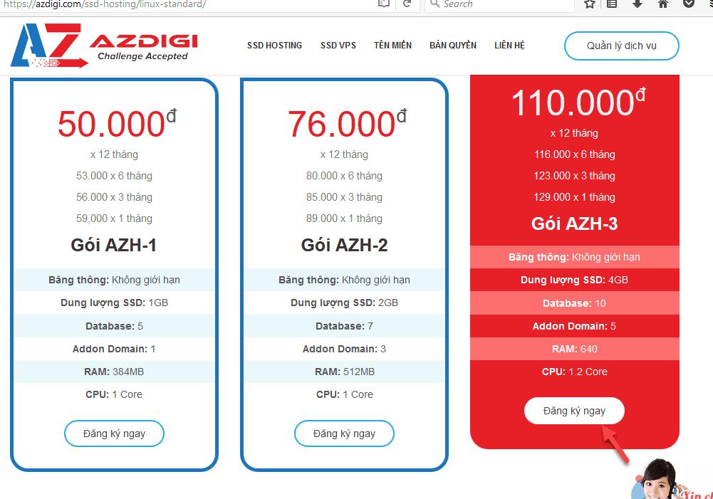 cách đăng ký hosting tại azdigi 1