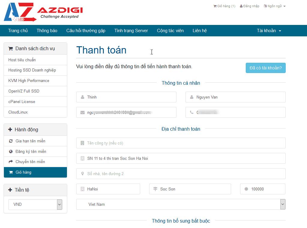 cách đăng ký hosting tại azdigi 5