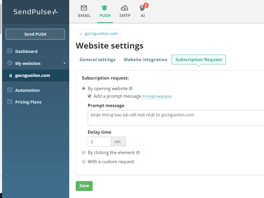 sendpulse web push
