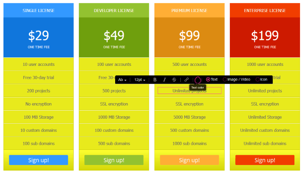 plugin pricing table by supsystic