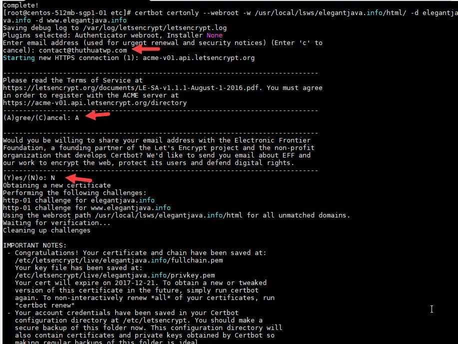 cài đặt Lets Encrypt trong webserver OpenLiteSpeed 1