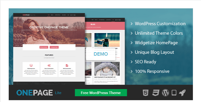 Tải miễn phí OnePage Lite: Theme WordPress một trang