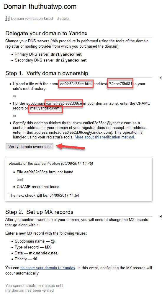 Hướng dẫn tạo email tên miền riêng miễn phí với Yandex