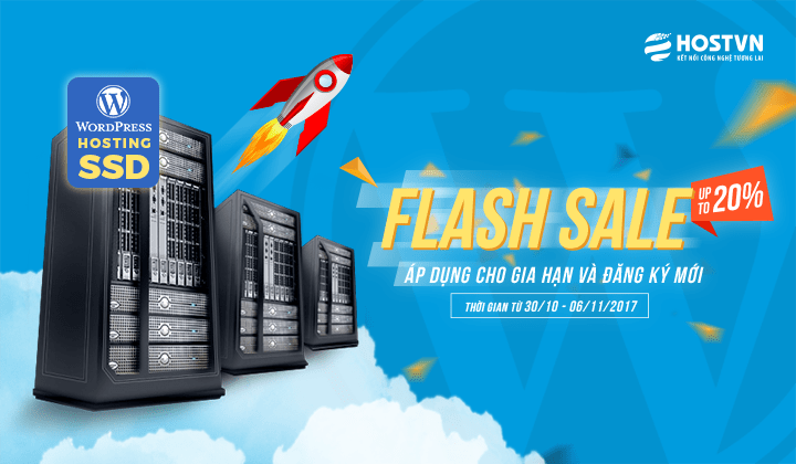 Khuyến mại HostVN: mã giảm giá 20% WordPress Hosting SSD trong 1 tuần