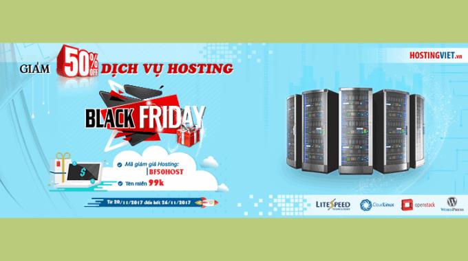HostingViet giảm 50% dịch vụ cloud hosting, tên miền quốc tế 99k nhân dịp Black Friday 2017