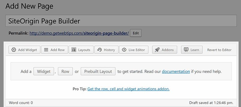 SiteOrigin page builder 1