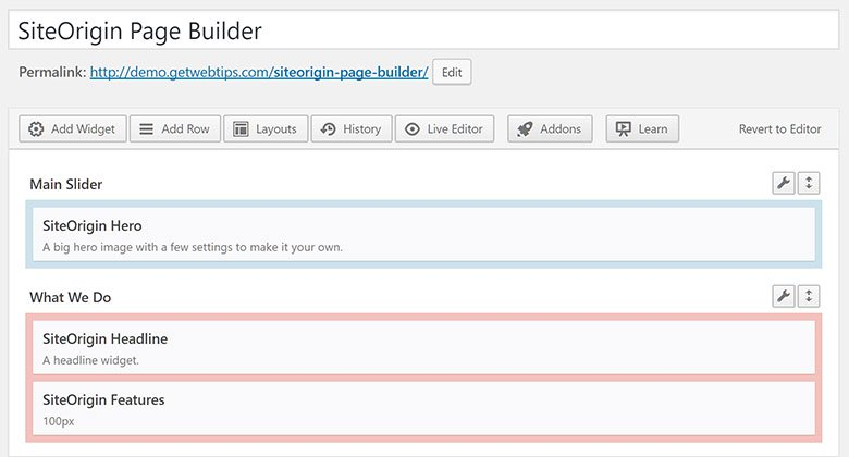 SiteOrigin page builder 4