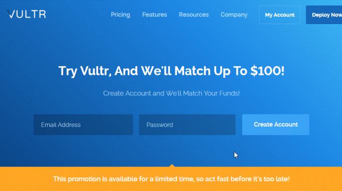 Vultr tặng tới 103$ cho tài khoản mới! Đăng ký ngay hôm nay