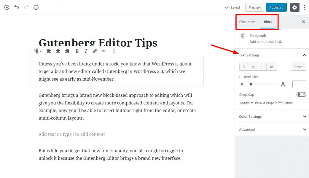 Working tip with gutenberg 1
