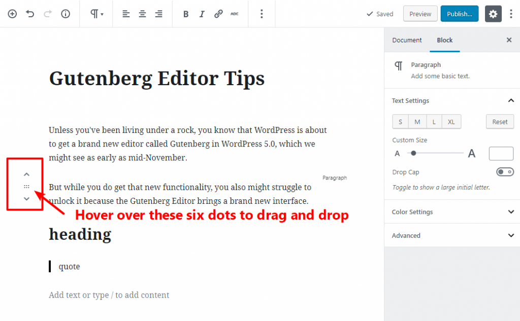 tip for working with gutenberg 10