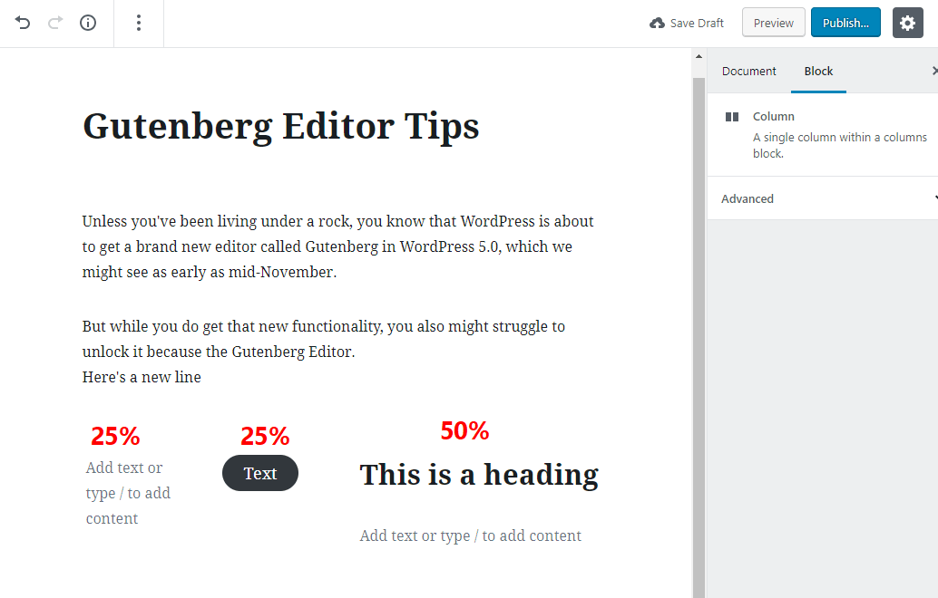 tip for working with gutenberg 12