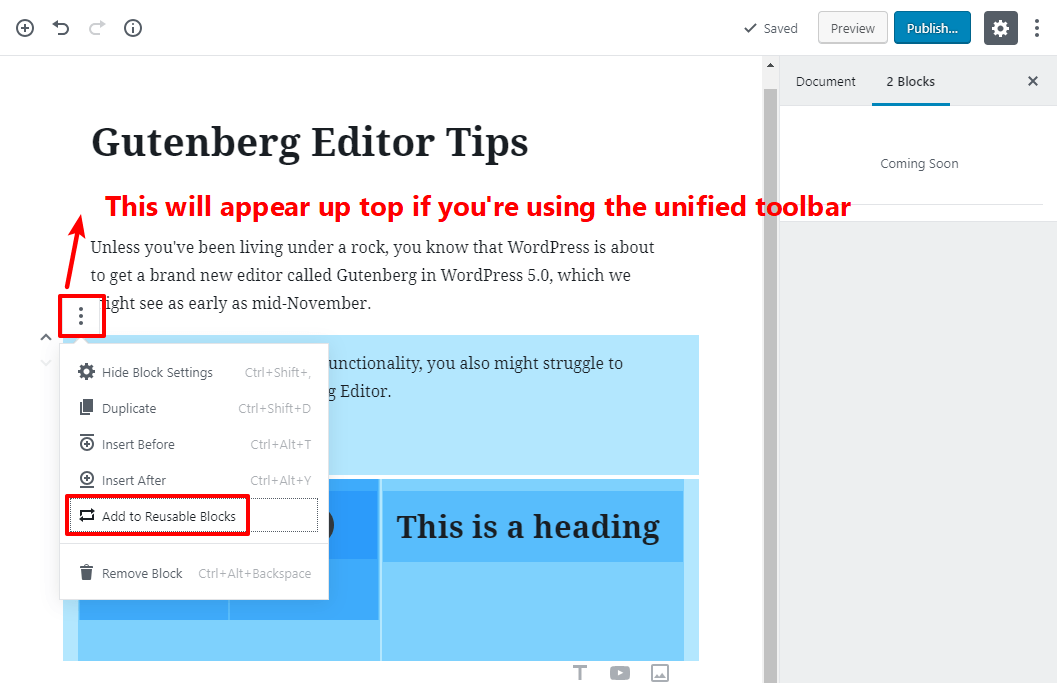 tip for working with gutenberg 13