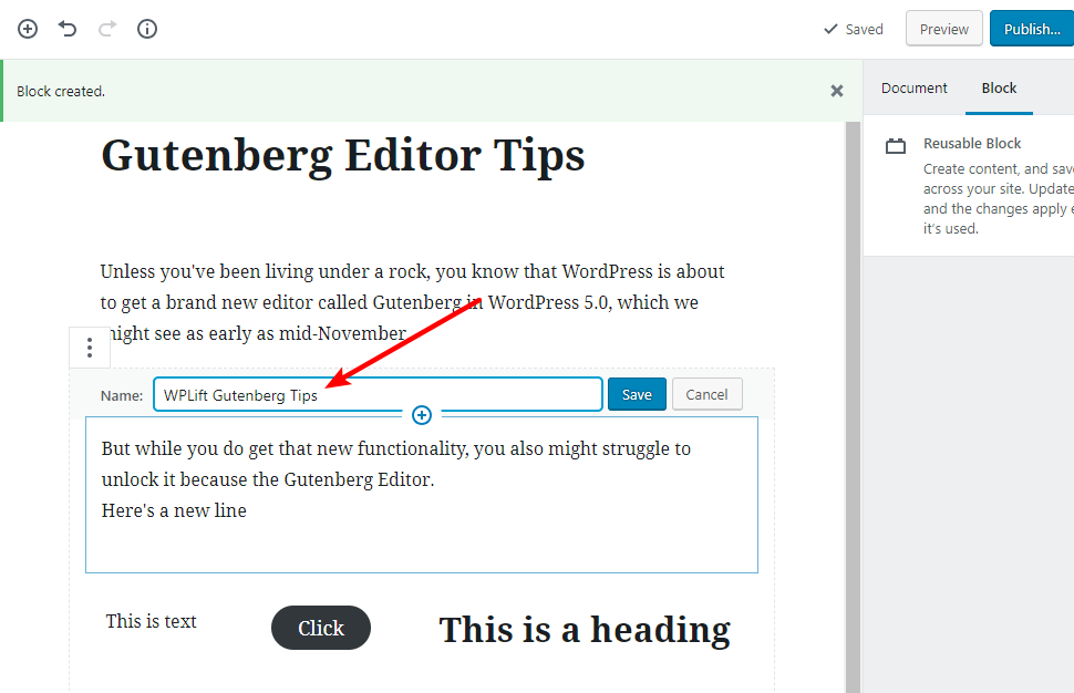 tip for working with gutenberg 14