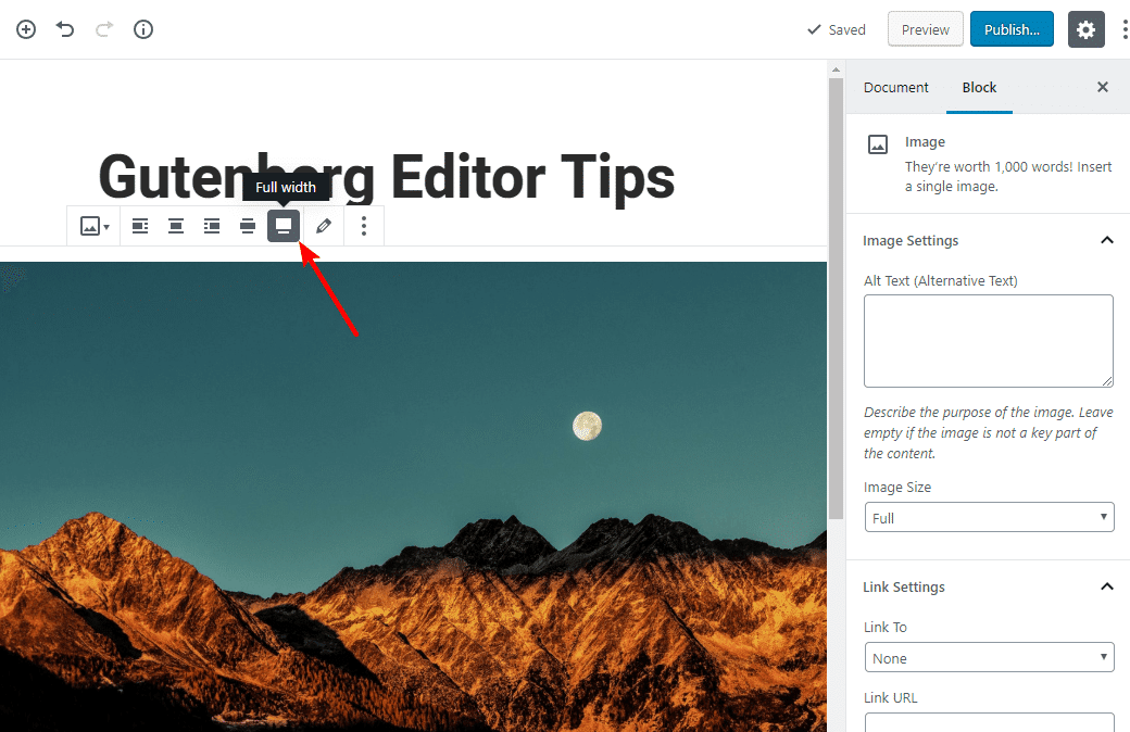 tip for working with gutenberg 17