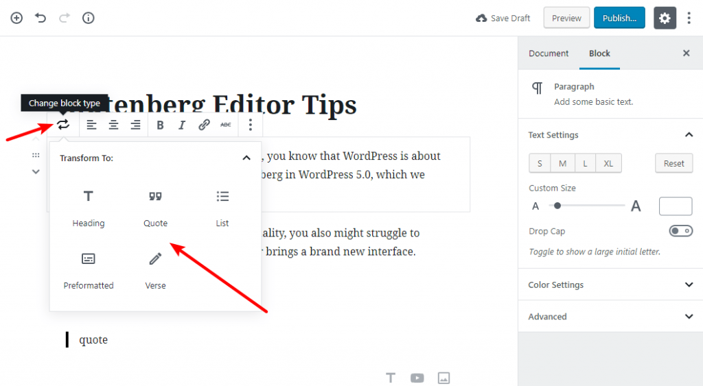 tip for working with gutenberg 8