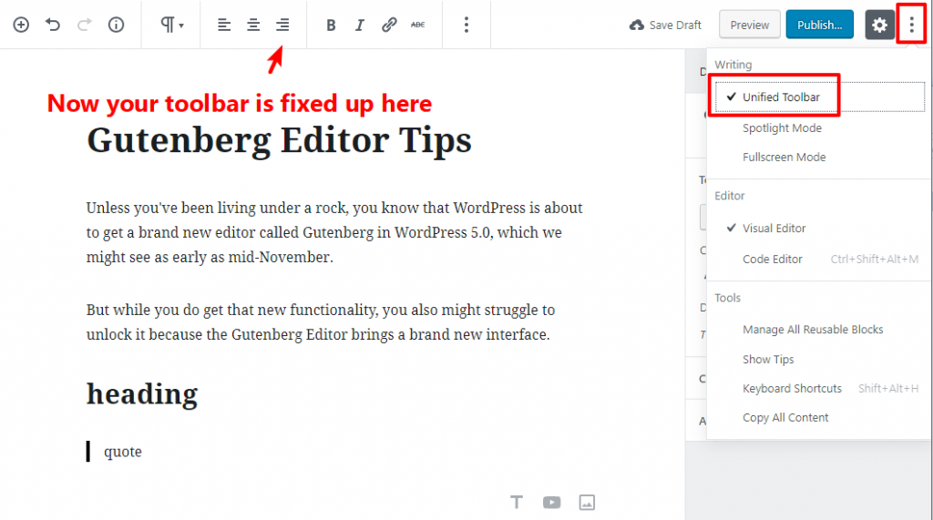 tip for working with gutenberg 9